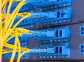 Sala de servidores de rede de comunicação e internet — Foto Stock