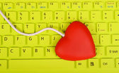 Red heart shape of USB hub connect with laptop — Stock Photo