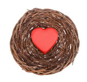 Nest with red heart and egg — Stock Photo