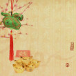 Stock Photo: Traditional chinese knot on old paper background,Chinese New Year: Chinese Zodiac