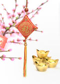 Chinese lucky knots used during spring festival — Stock Photo