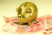Piggy bank and one-hundred rmb bill — Stock Photo
