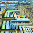 Oil refinery fuel station with pipelines and valves — Stock Photo