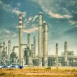 Stock Photo: Gas processing factory. landscape with gas and oil industry