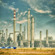 Gas processing factory. landscape with gas and oil industry — ストック写真