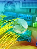 глобус с сетевых кабелей и серверами в сенте данных технологий — Стоковое фото