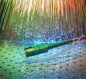 Fiber optics, modern computer communication technology — Stock Photo