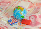 National flag of America and China — Stock Photo