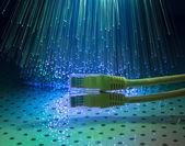ハイテク技術の背景の色とネットワーク ケーブル — ストック写真