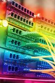 Technology center with fiber optic equipment — Stock Photo