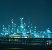 Refinery industrial plant with Industry boiler at night — Stock Photo