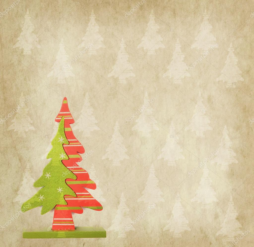 Christmas Tree On Antique Vintage Paper Background