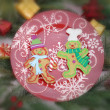 Christmas Decorations with plate and gingersnap — Stock Photo #34580579