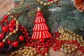 Červená vánoční strom — Stock fotografie