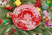 Christmas Decorations with plate — Stock Photo