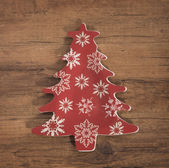 Christmas tree decoration over wooden background — Stock Photo