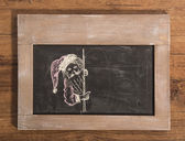 Santa's Sign drawing on blackboard — Stok fotoğraf