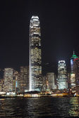 Hong Kong city skyline panorama at night with Victoria Harbor an — Stok fotoğraf