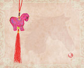 "Chinese horse knot on paper background, word for ""horse"", 2014 i — Stockfoto"