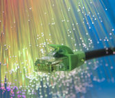 Network cable with high tech technology color background — Stockfoto