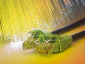 Network cable with high tech technology color background — Photo