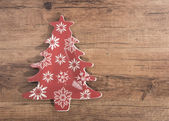 Christmas plate on wooden background — Stock Photo