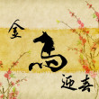 "Horse Calligraphy,Chinese calligraphy. word for ""horse"", with pl — Stock Photo"