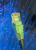 Cavo di rete con sfondo colore tecnologia high-tech — Foto Stock