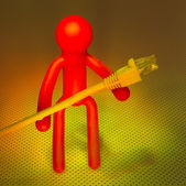 Network cable and Plastic people — Foto Stock