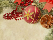 Christmas decoration on Vintage christmas background — Stock Photo
