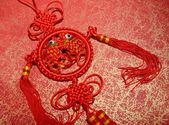 Tradycyjny chiński węzeł, kaligrafia oznacza szczęśliwego nowego roku — Zdjęcie stockowe