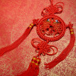 Traditional chinese knot,calligraphy mehappy new year — Stock Photo #40391669