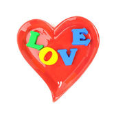 Love in Heart Shape plate on White Background — Stock Photo