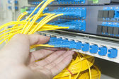 Data transfer by optical fibre information technology. — Stock Photo