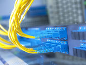 Technology center with fiber optic equipment — Stock Photo