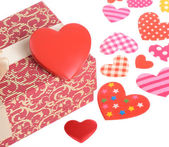 Valentine day gift with ribbon and heart shape on white — Foto Stock