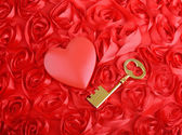 Golden Key with rose petals as a symbol of love — Stock Photo