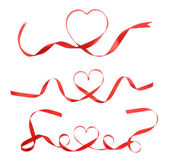 Red heart ribbon isolated on white background — Stock Photo