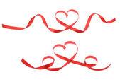 красное сердце ленты — Стоковое фото