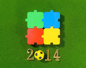 2014 message make of metal numbers and football soccer ball on g — Stock Photo