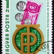 Postage stamp Hungary 1974 Bank Emblem, Coins and Banknote — Stock Photo