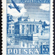 Postage stamp Poland 1957 Plane over Lazienki Park,Warsaw — Stock Photo