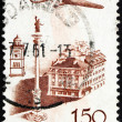 Postage stamp Poland 1957 Plane over Castle Square, Warsaw — Stock Photo