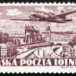 Postage stamp Poland 1952 Plane over Warsaw — Stock Photo