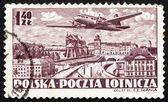 Postzegel polen 1952 vliegtuig over warschau — Stockfoto