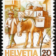 Postage stamp Switzerland 1987 Mule Post, Mail Handling - Zdjęcie stockowe
