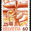 Stock Photo: Postage stamp Switzerland 1987 Loading Airmail, Mail Handling