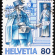 Postage stamp Switzerland 1986 Postman, Mail Handling — Stock Photo