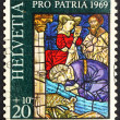 Postage stamp Switzerland 1969 Israelites Drinking from Spring o — Stok fotoğraf