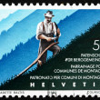 Postage stamp Switzerland 1990 Mountain Farmer Cuts Grass — Stock Photo